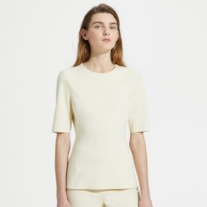 Theory fitted short sleeve ponte shell top